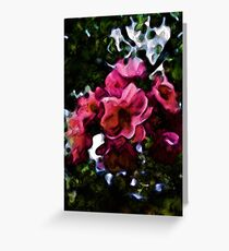 Pink Blossoms and Green Leaves with some Black Greeting Card