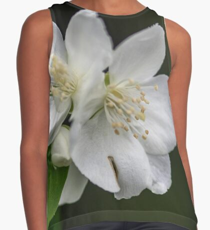 White Spring Flowers Contrast Tank