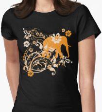 Beautiful Orange Floral Elephant Swirls T-Shirt