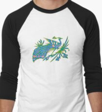 Rainbow Multicolored Peacock on a Branch Men's Baseball ¾ T-Shirt