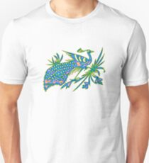 Rainbow Multicolored Peacock on a Branch T-Shirt