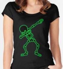 Dabbing Skeleton Halloween Funny Zombie Women's Fitted Scoop T-Shirt
