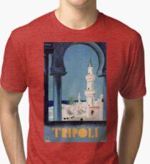 Vintage Tripoli Libya 1930 Travel Poster Tri-blend T-Shirt