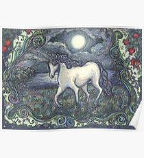 Unicorn in a Magical, Moonlit Landscape Poster