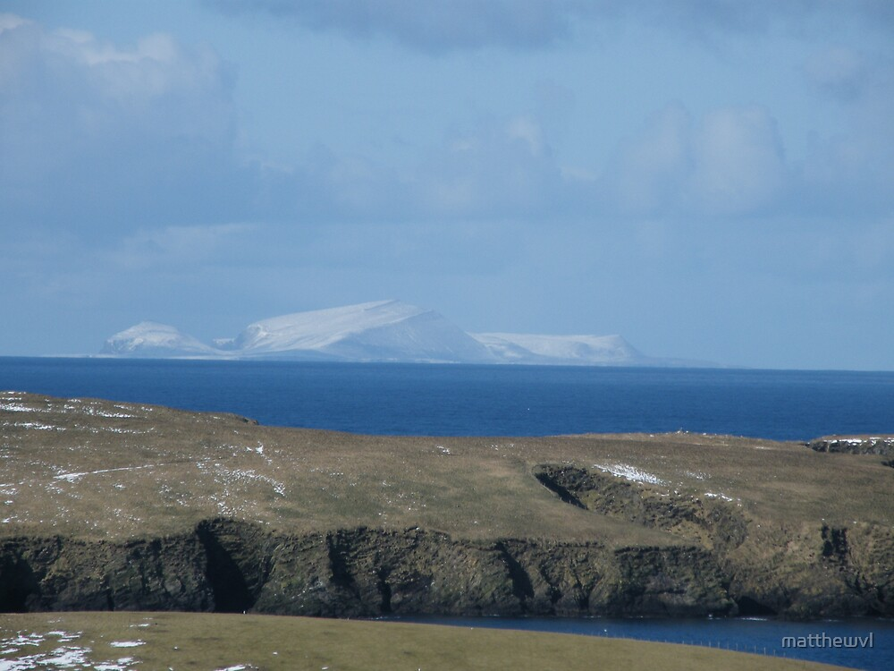 View of Foula from Scousburgh by matthewvl