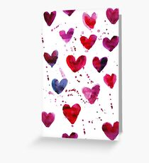 Hearts in Watercolour Greeting Card