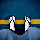 Stand behind the yellow line! by Belinda Fraser