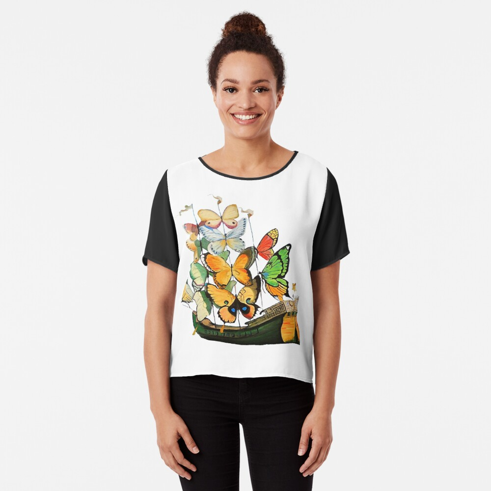Salvador Dali Ship with Butterfly Sails Chiffon Top