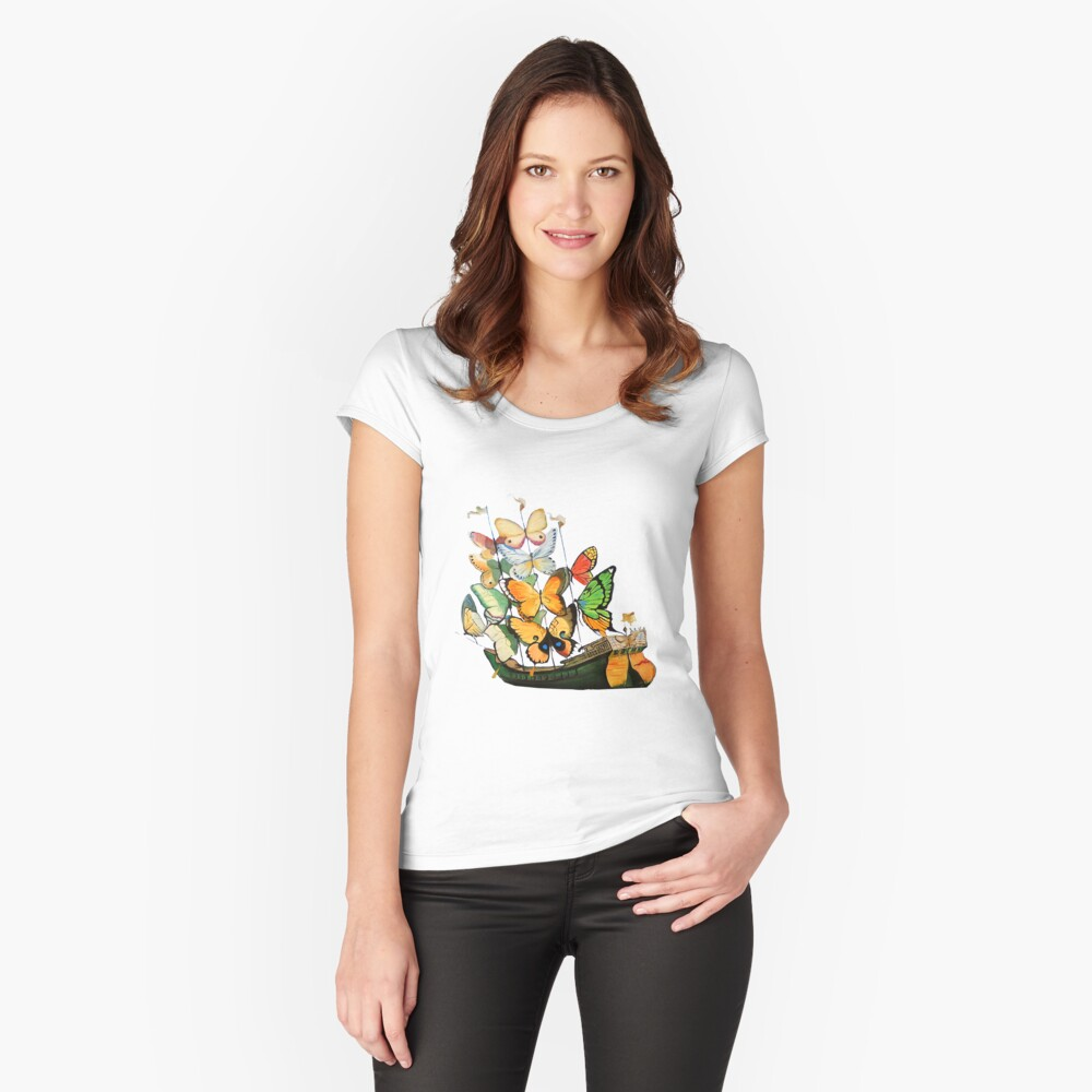 Salvador Dali Ship with Butterfly Sails Fitted Scoop T-Shirt