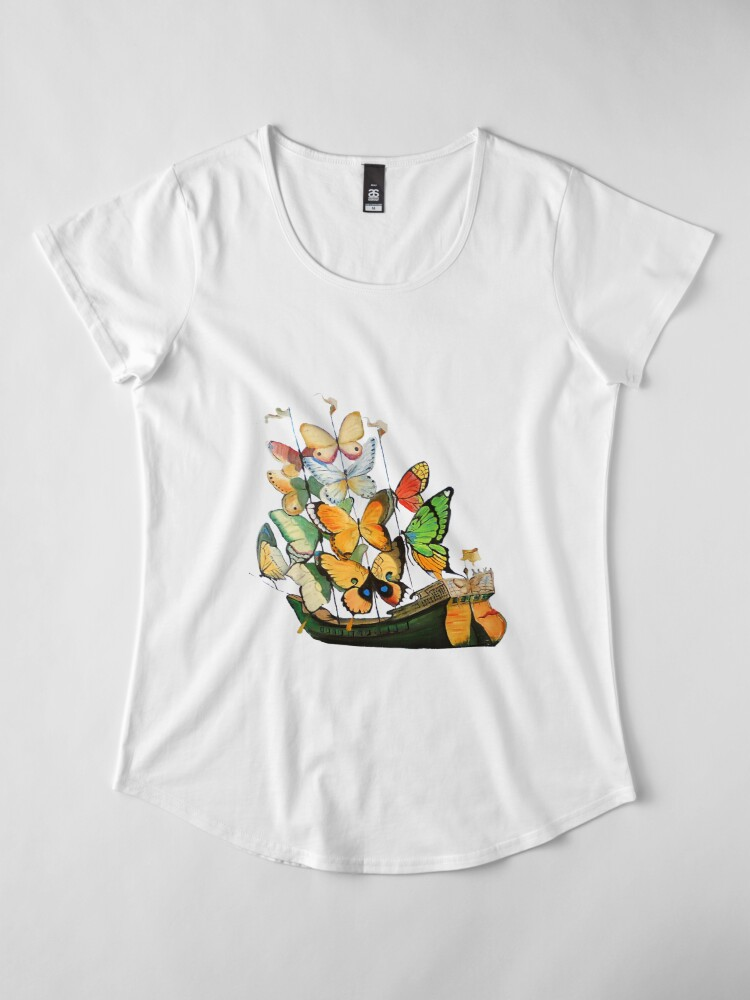 Alternate view of Salvador Dali Ship with Butterfly Sails Premium Scoop T-Shirt