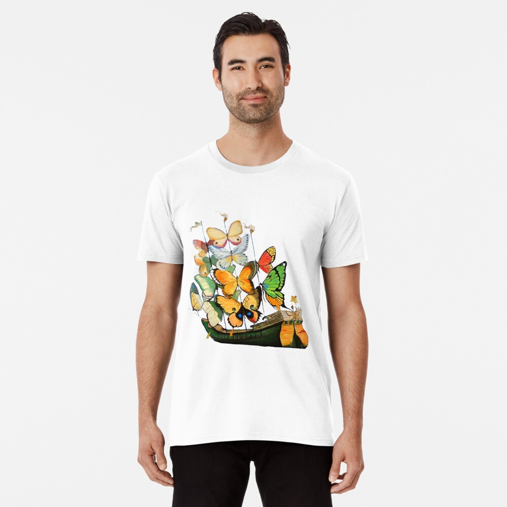 Salvador Dali Ship with Butterfly Sails Premium T-Shirt