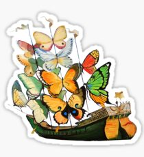 Salvador Dali Ship with Butterfly Sails Sticker