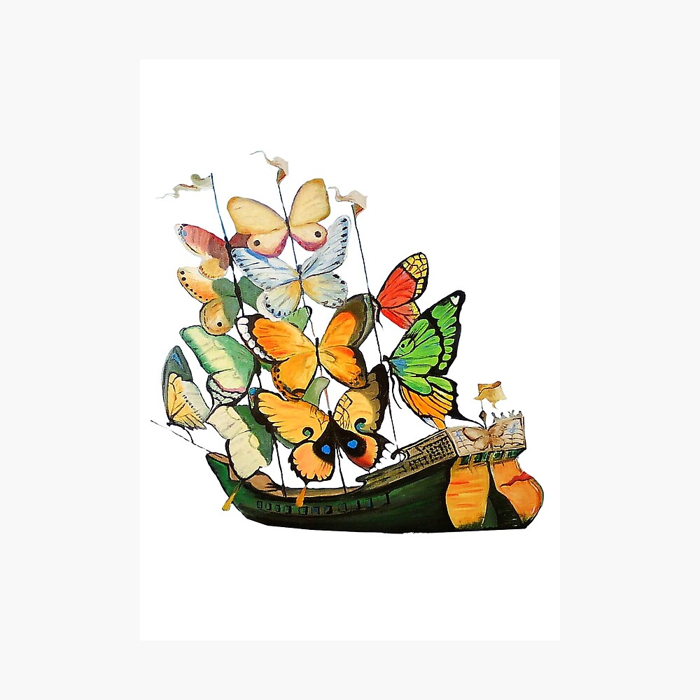 Salvador Dali Ship with Butterfly Sails Photographic Print