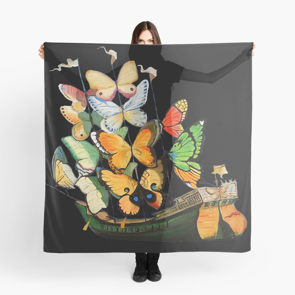 Salvador Dali Ship with Butterfly Sails Scarf
