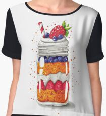 Strawberry and Blueberry shortcake in a jar Women's Chiffon Top
