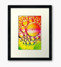 Orange Yellow and Green Oil and Water Framed Print