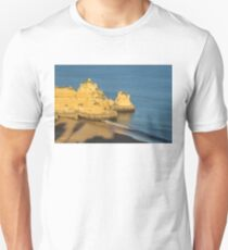 Gold and Blue - Long Shadows on Dona Ana Beach in Lagos Algarve T-Shirt