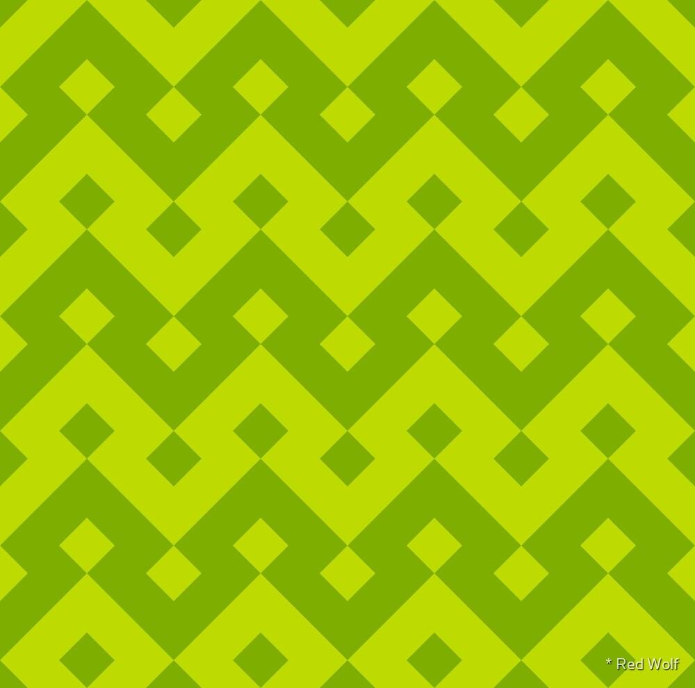 Geometric Pattern: Heavy Loop Diamond: Green by * Red Wolf
