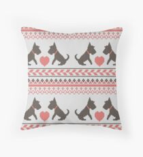 Knitted New Year 2018 retro pattern with dogs Throw Pillow