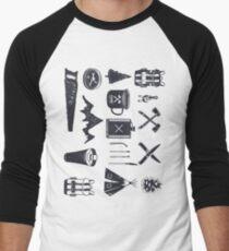 Bushcraft Icons and Hiking Symbols Men's Baseball ¾ T-Shirt