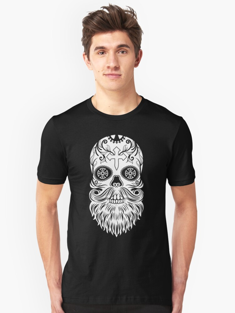 837db223f Day of the Dead White Bearded Sugar Skull with Cross Dia de los Muertos  Slim Fit