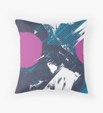 80s Cushion Blue Splash Throw Pillow