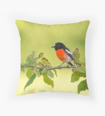 Scarlet Robin Throw Pillow