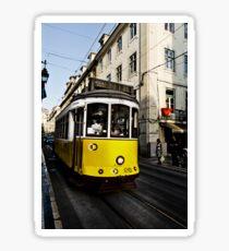 Yellow Streetcar in Lisbon Sticker