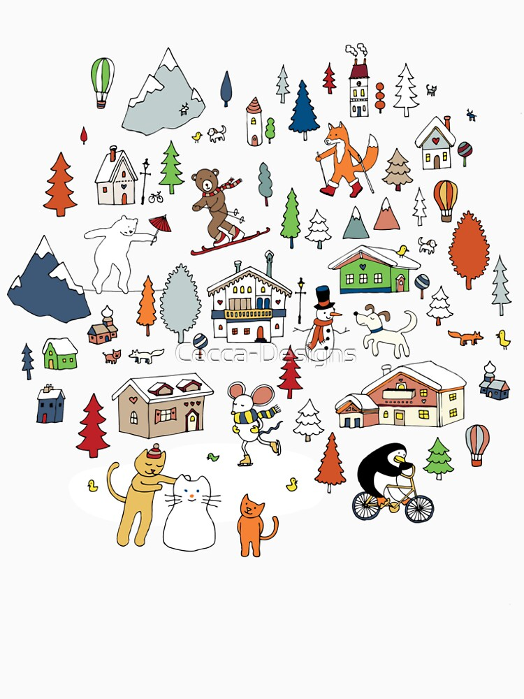 Alpine Animal Antics - on Taupe - Cute Winter pattern by Cecca Designs by Cecca-Designs