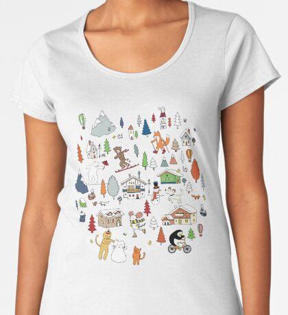 Alpine Animal Antics - on Taupe - Cute Winter pattern by Cecca Designs Women's Premium T-Shirt
