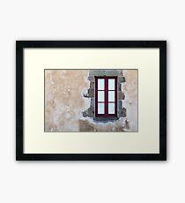 Window on a Rustic Wall Framed Print