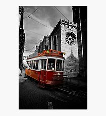 Red Streetcar in Lisbon Photographic Print
