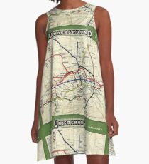 TUBE, UNDERGROUND, MAP, 1908, London, Historic, UK, GB, England, on WHITE A-Line Dress