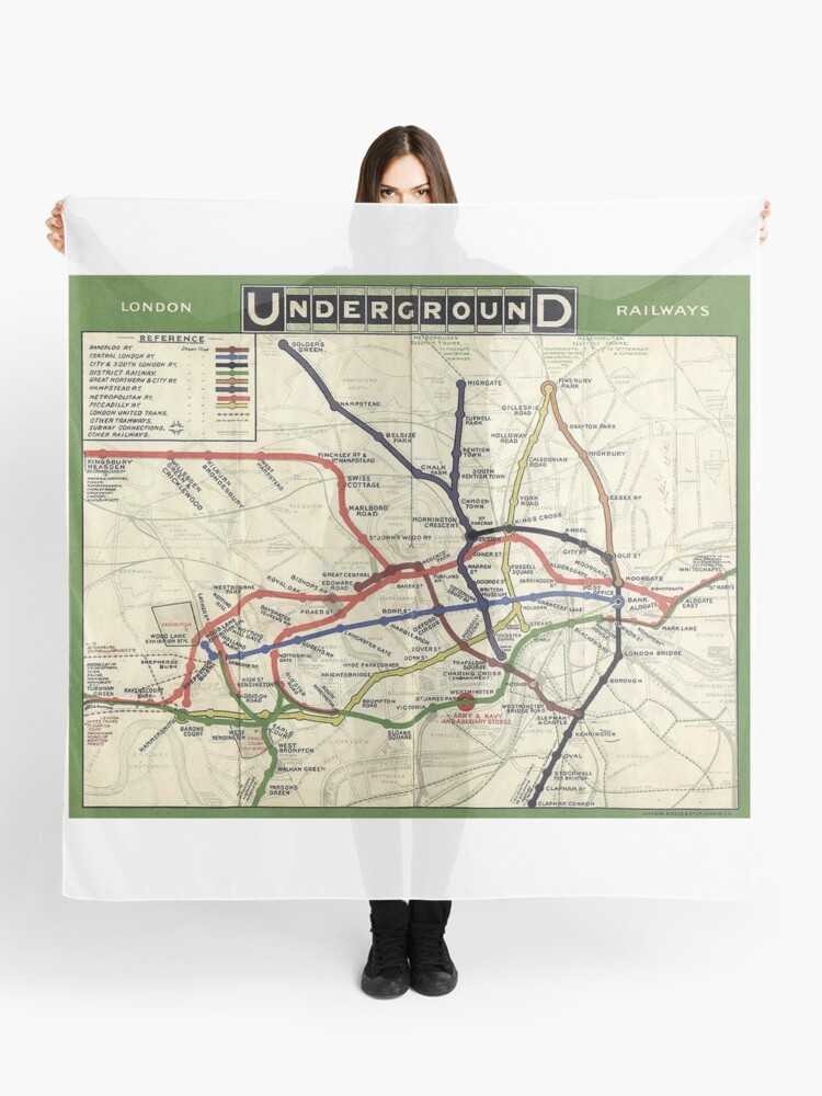 Map Of England Underground.Tube Underground Map 1908 London Historic Uk Gb England On White Scarf