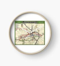TUBE, UNDERGROUND, MAP, 1908, London, Historic, UK, GB, England, on WHITE Clock