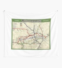 TUBE, UNDERGROUND, MAP, 1908, London, Historic, UK, GB, England, on WHITE Wall Tapestry