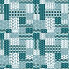 Chic Ethnic Faux Patchwork Pattern, Teal and White by Judy Adamson