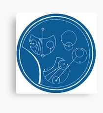 Bigger On The Inside - Blue and White, Round Canvas Print