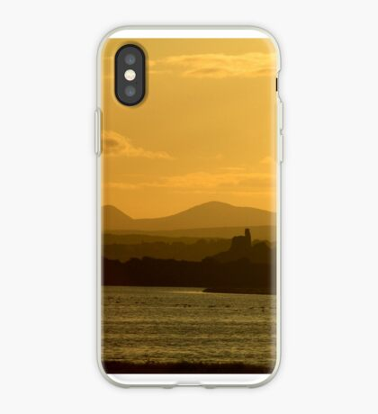 Twilight over Derryveagh mountains - with O'Doherty Castle from Inch Level iPhone Case
