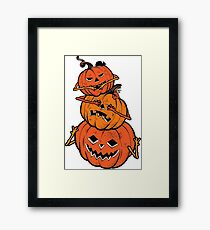 Three Wise Halloween Pumpkins covering his eyes, sees no evil, covering his ears, hears no evil, covering his mouth, speaks no evil. Framed Print