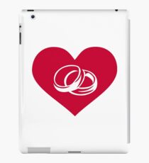 Red heart wedding rings iPad Case/Skin