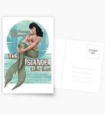The Islander Tiki Bar - Bettie Page Mermaid Postcards