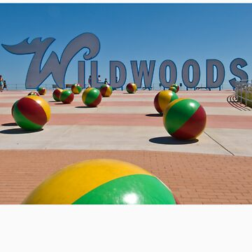 Wildwoods Sign on the Boardwalk in Wildwood, New Jersey by aladdincolor