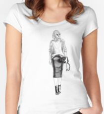 Fashion  Black And White Sketch Women's Fitted Scoop T-Shirt