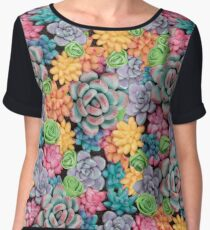 Candy Colored Succulents Women's Chiffon Top
