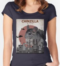 Chinzilla - Giant Chinchilla Monster Women's Fitted Scoop T-Shirt