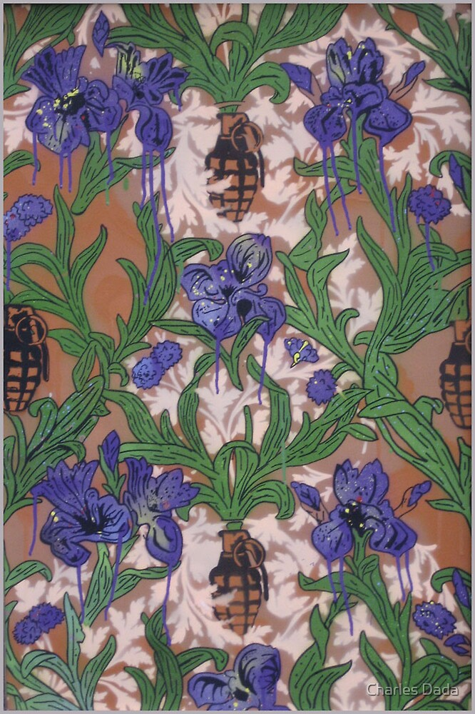 Purple Flowers and Grenades by Charles Dada