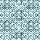 Teal on White Ethnic Pattern, Flowers, Chevrons by Judy Adamson