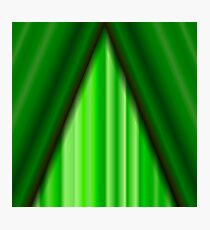 Cinema Closed Green Curtain. Green Textile Pattern. Cinema Stage. Photographic Print