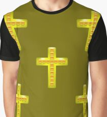 Golden Metal Cross Seamless Pattern on Brown Background. Christian Religious Symbol. Graphic T-Shirt